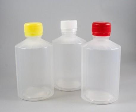 Szűknyakú műanyag folyadékflakon színes kupakkal PP 250ml