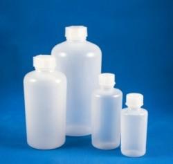 Szűknyakú flakon kupakkal, henger testű 250 ml PE