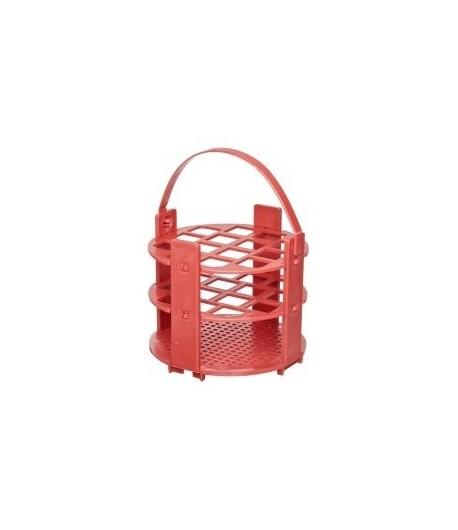 Kémcsőállvány kör alakú, fehér vagy piros, 61 férőhely, 1,5 ml eppendorfcső