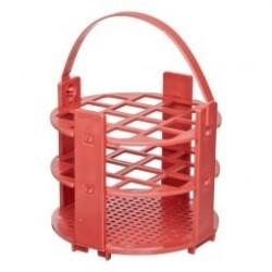 Kémcsőállvány kör alakú, piros, 120 férőhely, mikrotesztcső, 400ul